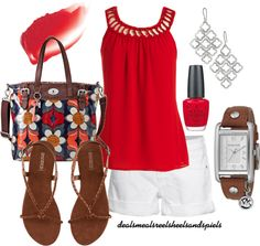 """""""red & white"""" by enjoytheview ❤ liked on Polyvore"""