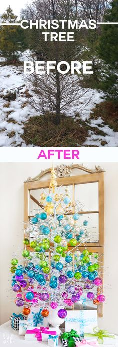 How to take a dead Christmas tree and bring it back to life to decorate your home for the holidays.  A Charlie Brown tree turned into a festive showstopper.  Easier than you think to do and very easy on your budget | In My Own Style
