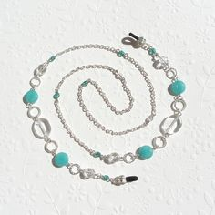 Turquoise Eyeglass Chain Beaded with Jade Silver and by JanJat