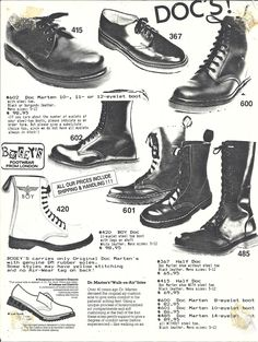 goth doc martens 80s Fashion gothic fashion 80s goth pointy boots  <3 Bogeys Catalog from the 80's <3