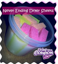 Never ending dryer sheets.  1 Container with an airtight lid 4 sponges cut in half 1 cup of your favorite fabric softener 2 cups water   WHAT TO DO: Mix the water and fabric softener into a plastic container. Add the sponges so they can soak in the mixture. To use, squeeze the excess liquid from 1 sponge and place into the dryer. Place sponge back into the container of liquid