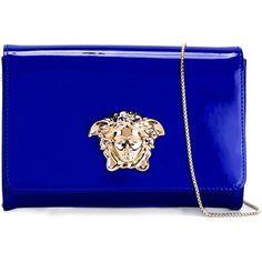 Versace Medusa shoulder bag (28 830 UAH) ❤ liked on Polyvore featuring bags, handbags, shoulder bags, blue, blue patent leather purse, blue shoulder bag, blue patent handbag, blue handbags and chain strap handbags