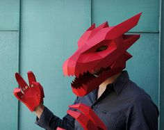 Dragon Head only, the Dragon Claws are sold separately. These plans enable you turn simple recycled card into a stunning Low Polygon Dragon Mask. Just pri Dragon Mask, Dragon Head, Wolf Maske, Make Your Own Card, How To Make, Low Poly Mask, Masque Halloween, Halloween Costumes, Mulan Costumes