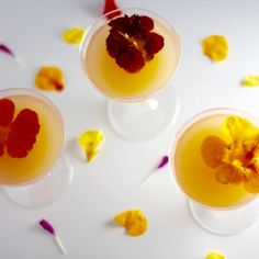 Lillet Rose Cocktail: Lillet Rose, Grapefruit Juice, Gin, Edible Flower Blossoms.