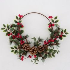 Christmas Wreath Red Berry and Holly Rustic Hoop Wreath Hanging Door wall Christmas Decoration Bohemian Christmas, Natural Christmas, Simple Christmas, Winter Christmas, Rustic Christmas, Christmas Tree Decorations, Christmas Crafts, Christmas Ornaments, Etsy Christmas