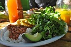 Vegetariano plate from Sol Food in San Rafael, CA. Garlic plantains, pink beans, rice, salad and avocado. Delicious!