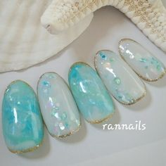 ネイル 画像 rannails 草加 1648708 青 緑 夏 海 リゾート パーティー Nail Art Designs 2016, Pretty Nail Designs, Simple Nail Art Designs, Easy Nail Art, Cool Nail Art, Nail Polish Style, Nail Polish Art, Cute Nails, Pretty Nails