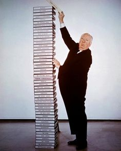 """hitchcockandfriends: """" otfilms: """" Alfred Hitchcock and his film scripts, """" I've only seen this picture in black and white before. This was shot on the occasion of Alfred Hitchcock's film,. Alfred Hitchcock, Hitchcock Film, Classic Hollywood, Old Hollywood, Dane Dehaan, Foto Poster, Gene Kelly, Dirty Dancing, Book Lovers"""