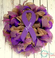 Cancer Awareness Wreath by aDOORableDecoWreaths on Etsy
