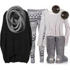 Oversized sweater with patterned leggings and infinity scarf
