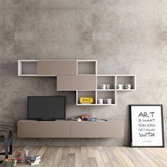 I want something like this as a media unit, the bottom piece to put the TV on and something on the wall that serves as storage as well