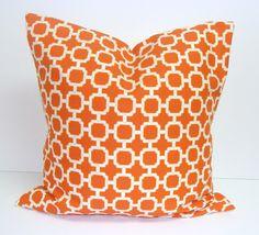 ORANGE PILLOW.20x20 inch.Decorator Pillow Cover.Printed Fabric Front  Back.Indoor Outdoor.Geometric Pattern.Bright Orange.Cushion.Cm.Orange
