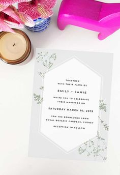 This modern botanical wedding invitation by Sail and Swan Studio features minimal greenery on a pale grey backdrop. They are perfect for an outdoor wedding such as a garden, forest, beach or woodland wedding, but also have a modern look and feel that makes them versatile across the board for any floral or botanical theme.