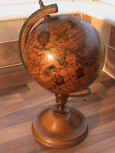 Vintage Wooden Globe of the World World Globe Map, Map Globe, World Globes, Vintage Globe, Vintage Maps, Globe Projects, La Reverie, Wood Creations, Medieval Castle