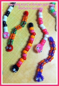 Pattern worms: Easy and fun way to assess patterns while working on fine motor skills!