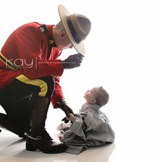 Father and son photo inspiration - RCMP - Royal Canadian Mounted Police Newborn Pictures, Baby Pictures, Baby Photos, Family Photos, Cute Pictures, Newborn Baby Photography, Maternity Photography, Couple Photography, Police Family