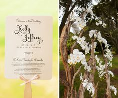 Outdoor Wedding Ceremony Program Paper Fan Favor with Bow and White Orchid Ceremony Arch