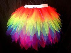 Neon Rainbow Brite Tutu - Long Length Multi Colour Tutu