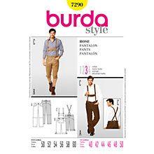 Buy Burda Men's Lederhosen Trousers Sewing Pattern, 7290 Online at johnlewis.com