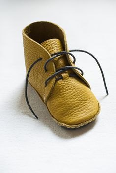 Sweet and simple leather bootees from First Baby Shoes handmade kit