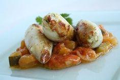 Calamar farci au chorizo, confit de tomate-courgette
