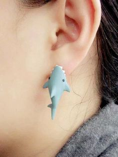 OOO - polymer clay grey / light blue shark bite earring