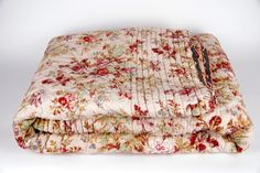 Vintage  French Quilt. Floral Pique Bedcover.  Soft Pinks and Browns and Navy.  Comforter Bedspread by RebeccasAix on Etsy