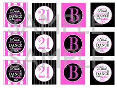 Time to Drink Champagne & Dance on the Table / 21st Birthday Printable Cupcake Toppers / Party Tags by TheSubtleStatement, $8.00