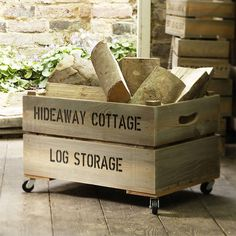 A rustic and durable wooden large personalised apple crate. With added wheels it is ideal for wooden log storage. Wooden Apple Crates, Wood Crates, Wood Boxes, Indoor Log Storage, Log Store Indoor, Range Buche, Wooden Logo, Fireplace Logs, Fireplace Ideas