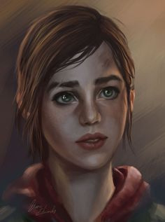feavre:  Painting of Ellie, The Last of Us Request more art on twitter @Blane_edwards or through Ask box.  Fixed—her scar is now on the correct eyebrow.