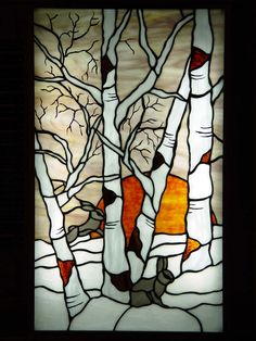 birch tree stained glass - Google Search