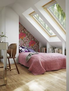Attic bedroom with niches for storage