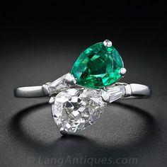 Edwardian Emerald and Diamond Bypass Ring