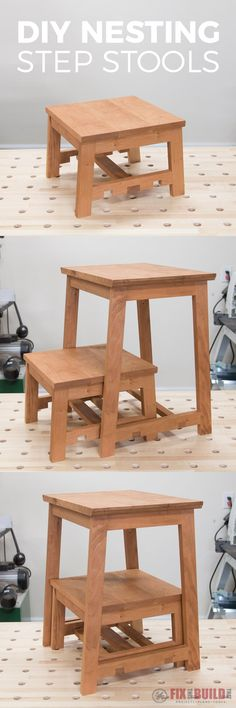 Build this DIY Nesting Step Stool combo and get the function of 3 stools in 1 footprint!  Full build video and plans available.  Click for more info!