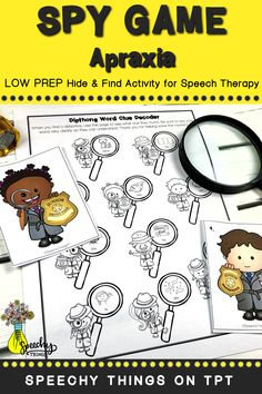 "Spy Game Apraxia is part of a series of LOW PREP speech therapy activities that is designed to incorporate gross motor breaks. Your students with CAS will have plenty of syllable shapes to work on at THEIR LEVEL. All you have to do is hide the 10 little detectives and your students will find them and help them ""decode"" their clues. Each detective corresponds to one target word. It's easy to play and so ENGAGING! Find it today on TpT! #speechtherapy #tpt #slp"