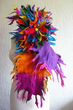 felted wool scarf-scarves-wrap-flower brooch-corsage-wool flowers-handmade-felted art to wear-inken gaddass-filzschal | Flickr - Photo Shari...