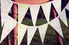 DIY Printable Birthday Banner Garden Tea Party by paigesofstyle