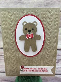 This Christmas card uses Stampin' Up!'s Cookie Cutter Christmas stamp set and Cookie Cutter Builder Punch (bundled together for a discount!).  It also uses the new Cable Knit Dynamic Textured Impressions Embossing Folder and the new Mini Jingle Bells.  #stamptherapist #stampinup  www.stampwithjennifer.blogpsot.com