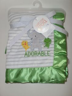 NWT Carter's Just One You ELEPHANT FROG DUCK Green Satin ADORABLE BABY BLANKET #Carters