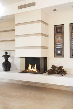 Three-Sided Fireplace 3 Sided Fireplace, Fireplace Facing, Home Fireplace, Fireplace Remodel, Living Room With Fireplace, Fireplace Surrounds, Living Room Decor, Gas Fireplaces, Modern Fireplaces
