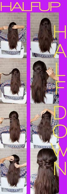 Half Up and Half Down Hairstyles for Prom - BRAIDED HALF-UP HOW-TO -Hairdos and Updo's for Short, Medium Length and Long hair - Great hair styles and Beauty for Prom Wedding Bride, Veils, Crown Braids, and Hair Accessories for Twists.