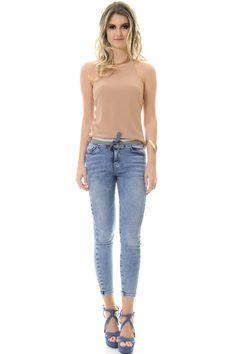 Calça Skinny Jeans Com Cós De Retilínea - lojacaos