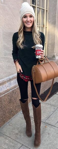 Winter Wear | trendy, winter outfit, her style, women's fashion, easy outfit, beanie, layers #winteroutfits