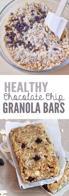 Easy-to-make, healthy granola bars - packed with rolled oats, crispy cereal, & mini chocolate chips! @choccoveredkt