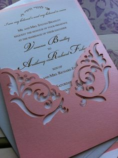Pocket  Elegant Wedding Invitation Laser Cut by CelineDesigns, $8.99