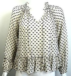 Rebecca Taylor black/white 3D geometric print sheer silk peasant blouse sz 2 NR