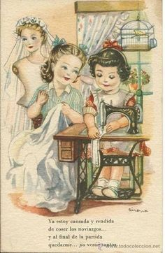 Picture of girls sewing their wedding dresses