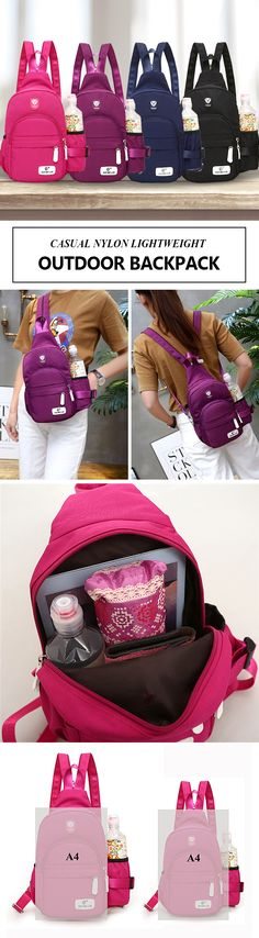 [$ 14.68 ~ 16.18] Casual Nylon Lightweight Outdoor Travel Chest Bag Shoulder Bag Backpack For Women