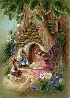 Shirley Barber's Fairy Artwork added a new photo. Susan Wheeler, Illustrations Vintage, Fairy Pictures, Bunny Art, Flower Fairies, Fairy Art, Whimsical Art, Cute Illustration, Illustrators