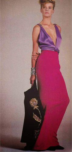 1984-85 - Yves Saint Laurent couture evening dress by Richard Avedon for Vogue  from devorahmacdonald.blogspot.fr